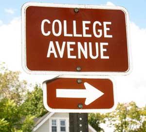 college admissions fair sign